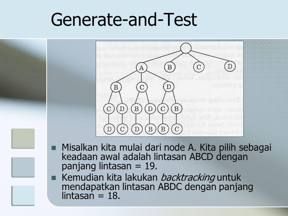 Generate-and-Test Misalkan kita mulai dari node A. Kita pilih sebagai keadaan awal adalah lintasan ABCD dengan panjang lintasan = 19.