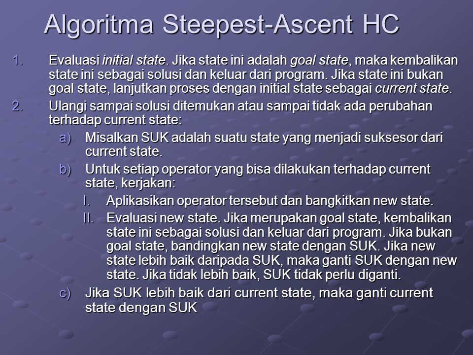 Algoritma Steepest-Ascent HC