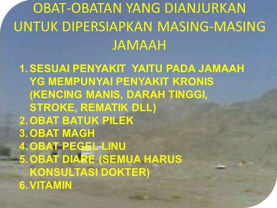 OBAT-OBATAN YANG DIANJURKAN UNTUK DIPERSIAPKAN MASING-MASING JAMAAH