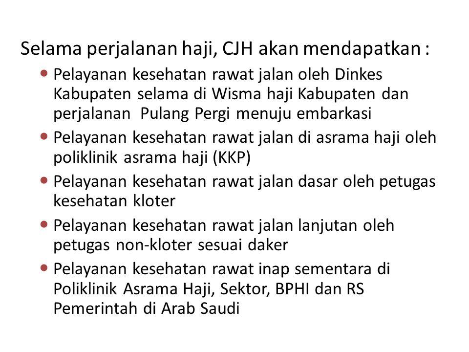 Selama perjalanan haji, CJH akan mendapatkan :