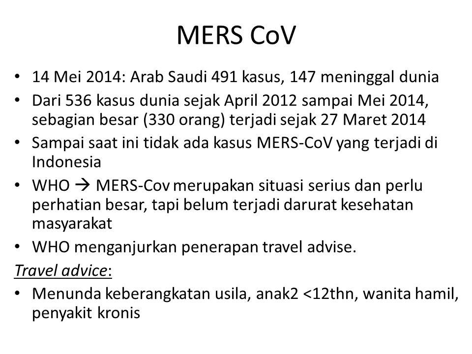 MERS CoV 14 Mei 2014: Arab Saudi 491 kasus, 147 meninggal dunia