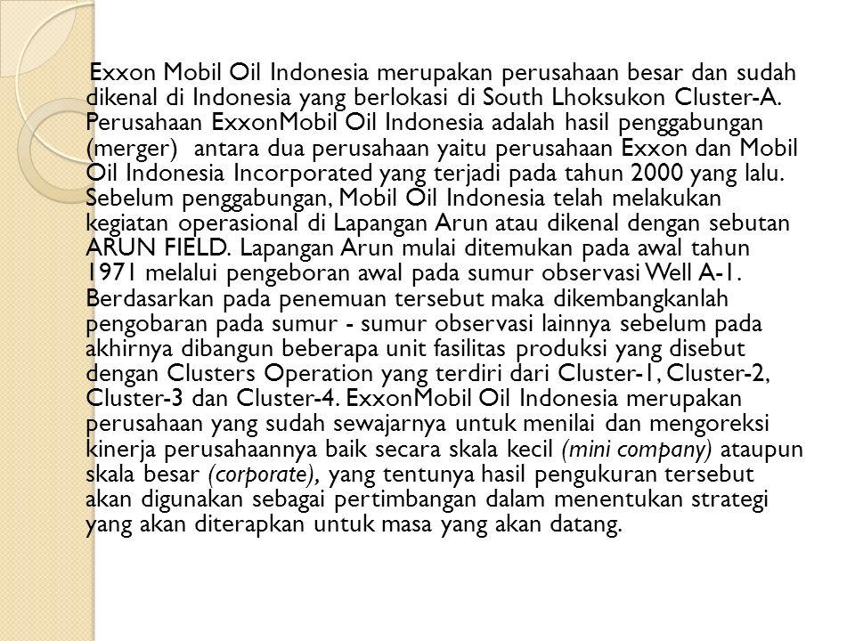 Exxon Mobil Oil Indonesia merupakan perusahaan besar dan sudah dikenal di Indonesia yang berlokasi di South Lhoksukon Cluster-A.