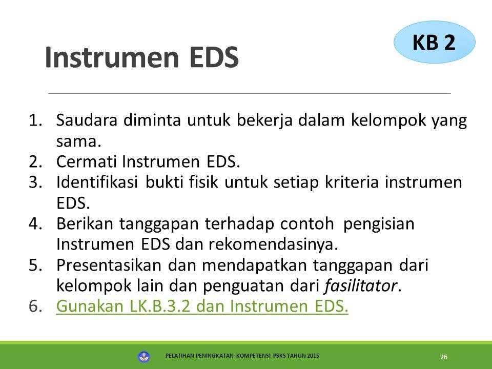 KB 2 Instrumen EDS. Saudara diminta untuk bekerja dalam kelompok yang sama. Cermati Instrumen EDS.