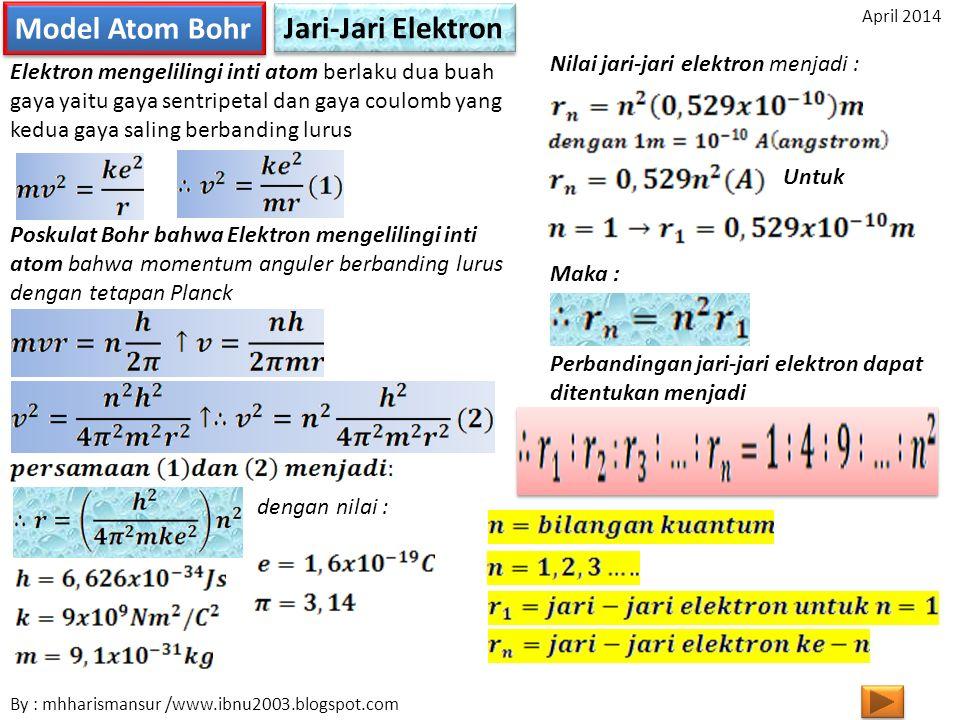 Model Atom Bohr Jari-Jari Elektron Nilai jari-jari elektron menjadi :