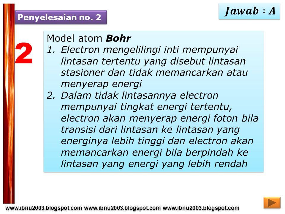 2 𝑱𝒂𝒘𝒂𝒃 :𝑨 Model atom Bohr