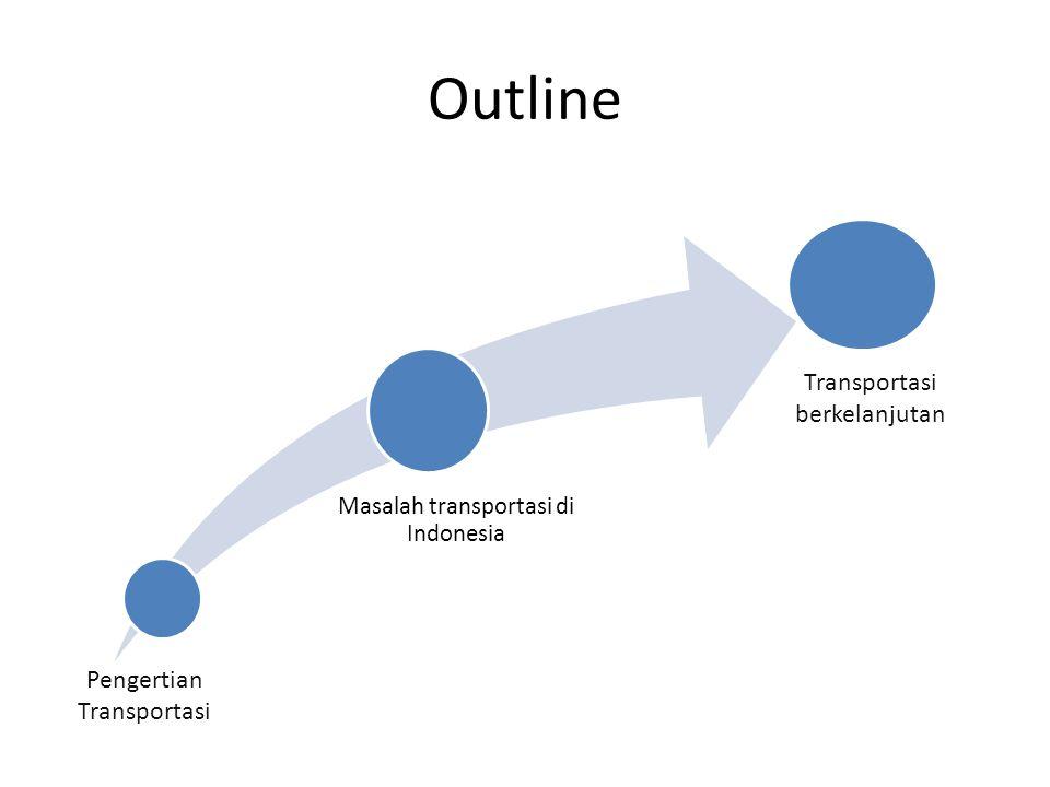 Outline Transportasi berkelanjutan Pengertian Transportasi