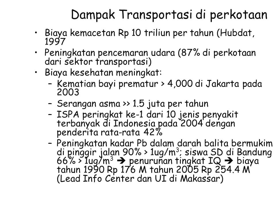 Dampak Transportasi di perkotaan