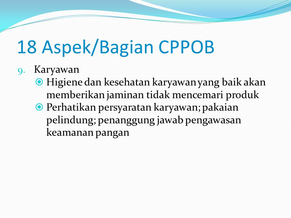 18 Aspek/Bagian CPPOB Karyawan