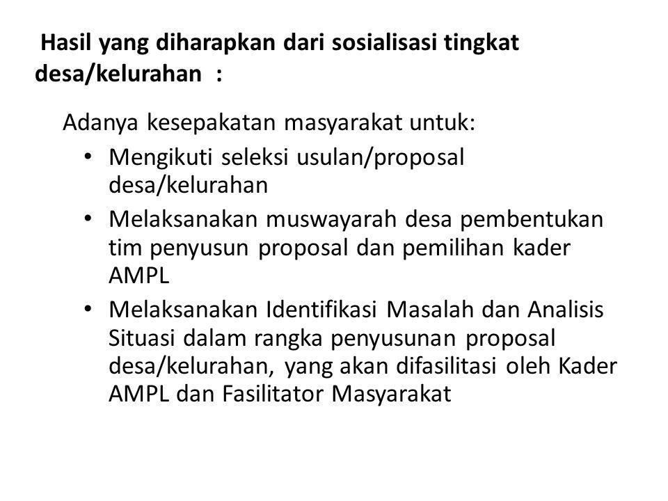 Hasil yang diharapkan dari sosialisasi tingkat desa/kelurahan :
