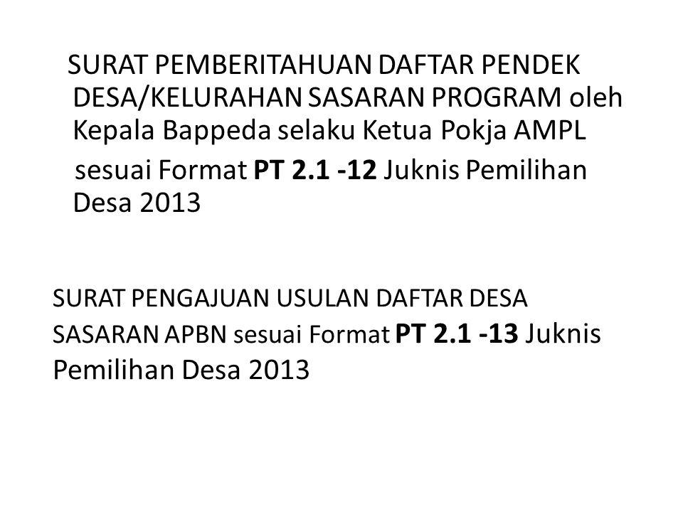 sesuai Format PT 2.1 -12 Juknis Pemilihan Desa 2013