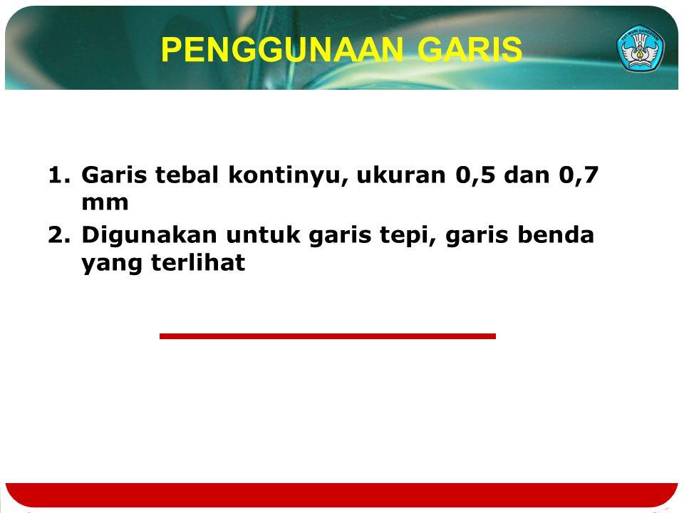 PENGGUNAAN GARIS Garis tebal kontinyu, ukuran 0,5 dan 0,7 mm