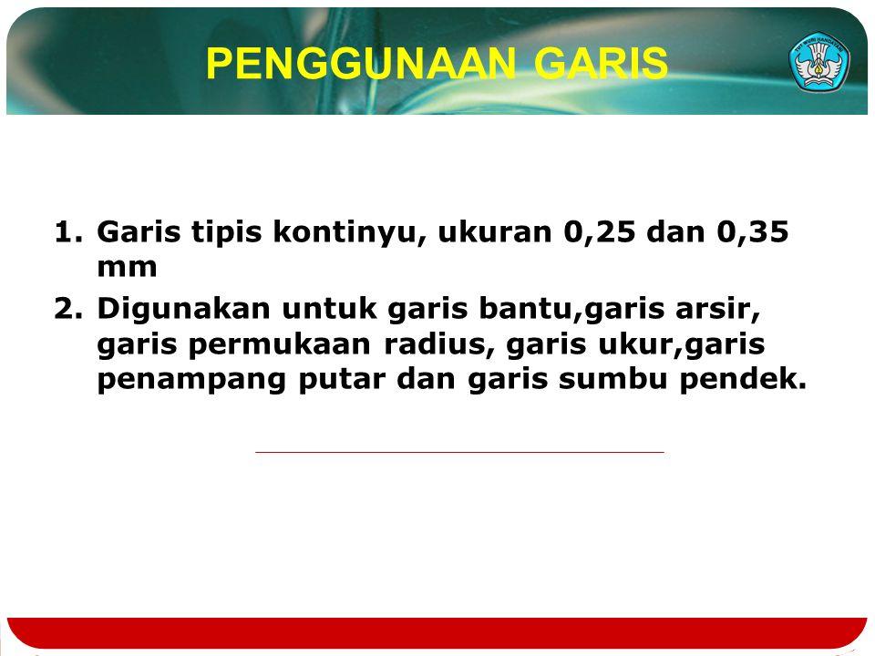 PENGGUNAAN GARIS Garis tipis kontinyu, ukuran 0,25 dan 0,35 mm