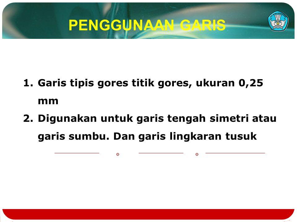 PENGGUNAAN GARIS Garis tipis gores titik gores, ukuran 0,25 mm