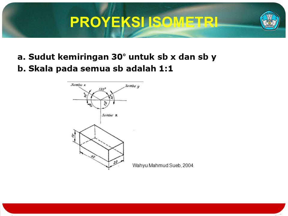 PROYEKSI ISOMETRI a. Sudut kemiringan 30° untuk sb x dan sb y