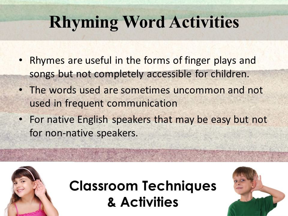 Rhyming Word Activities Classroom Techniques & Activities