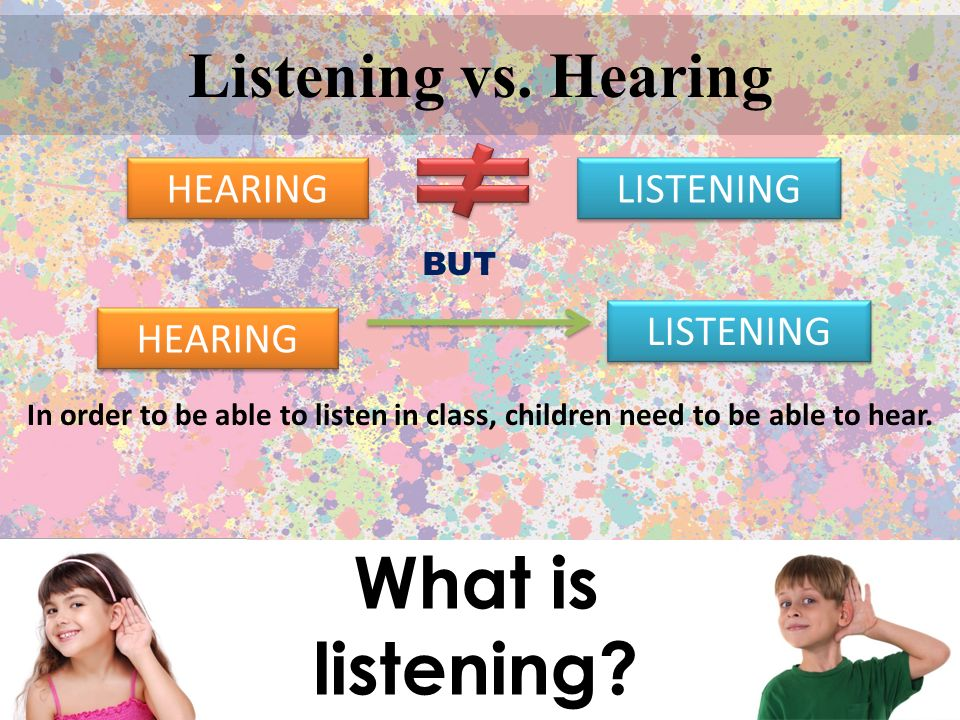 What is listening Listening vs. Hearing HEARING LISTENING LISTENING