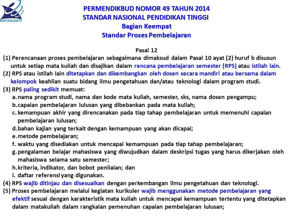 PERMENDIKBUD NOMOR 49 TAHUN 2014 STANDAR NASIONAL PENDIDIKAN TINGGI
