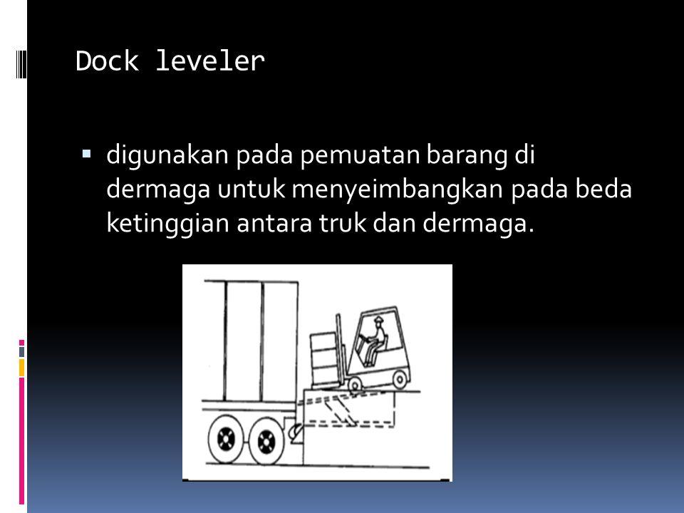 Dock leveler digunakan pada pemuatan barang di dermaga untuk menyeimbangkan pada beda ketinggian antara truk dan dermaga.