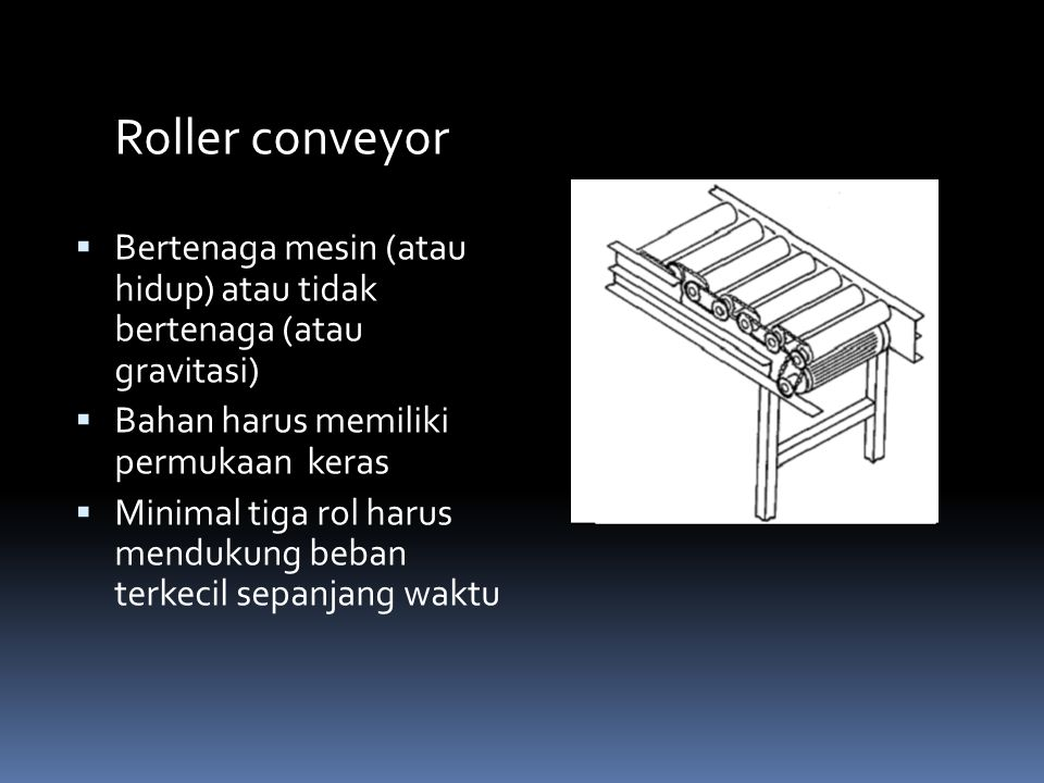 Roller conveyor Bertenaga mesin (atau hidup) atau tidak bertenaga (atau gravitasi) Bahan harus memiliki permukaan keras.