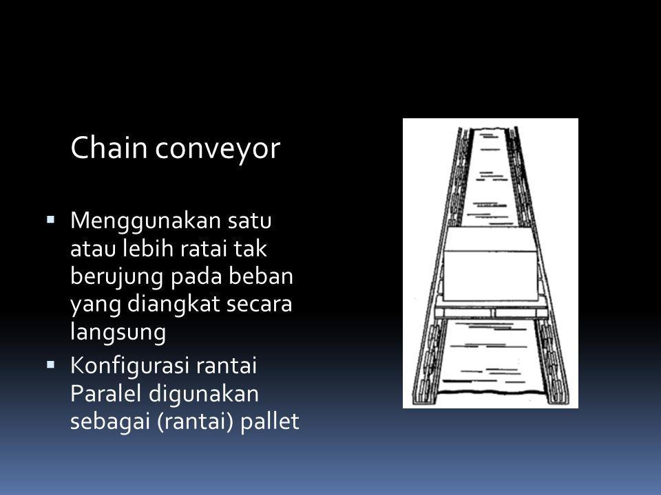 Chain conveyor Menggunakan satu atau lebih ratai tak berujung pada beban yang diangkat secara langsung.