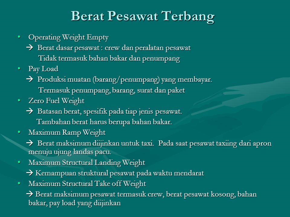 Berat Pesawat Terbang Operating Weight Empty