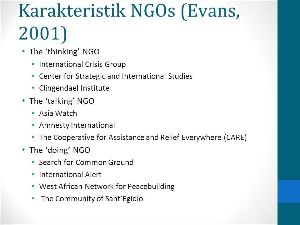 Karakteristik NGOs (Evans, 2001)