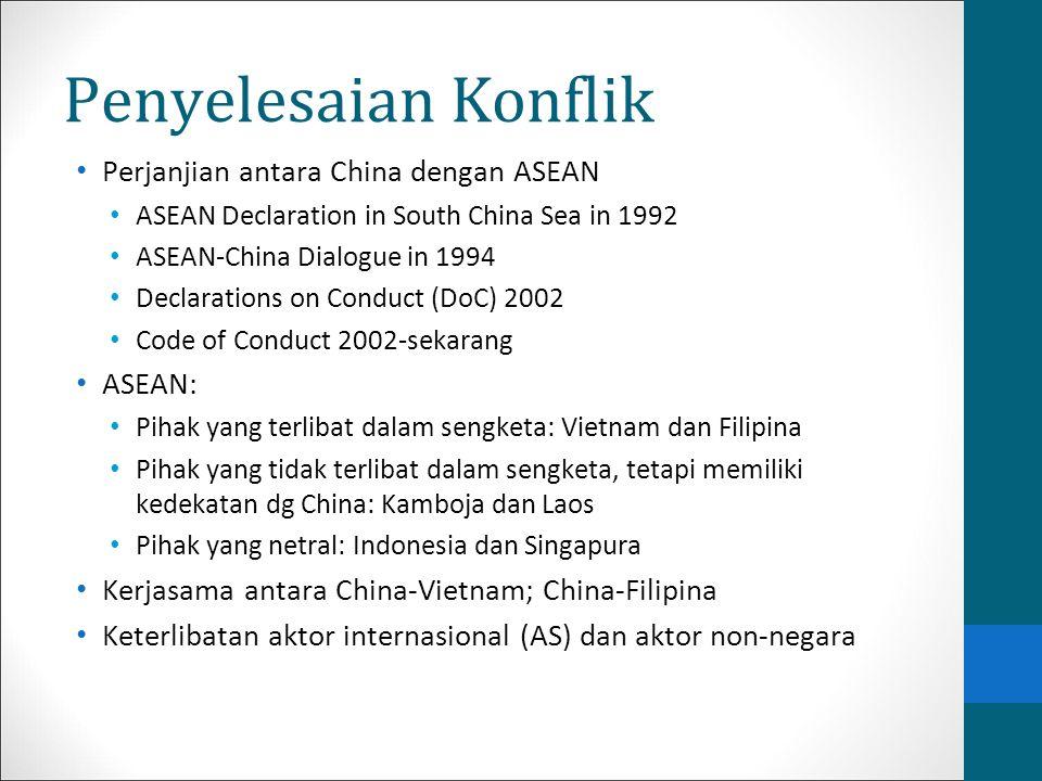 Penyelesaian Konflik Perjanjian antara China dengan ASEAN ASEAN: