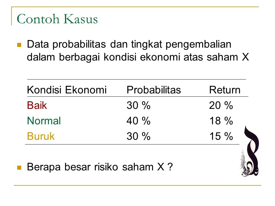 Contoh Kasus Kondisi Ekonomi Probabilitas Return