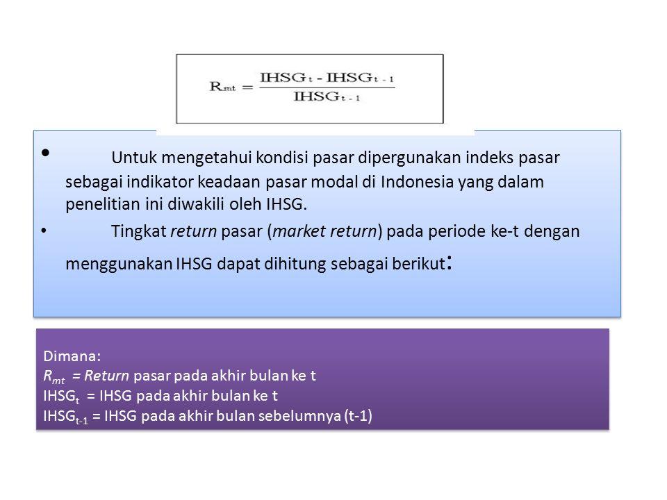 Untuk mengetahui kondisi pasar dipergunakan indeks pasar sebagai indikator keadaan pasar modal di Indonesia yang dalam penelitian ini diwakili oleh IHSG.