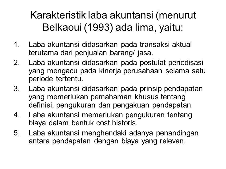 Karakteristik laba akuntansi (menurut Belkaoui (1993) ada lima, yaitu: