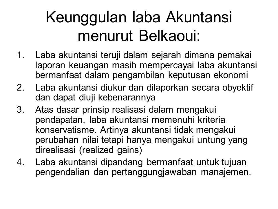 Keunggulan laba Akuntansi menurut Belkaoui: