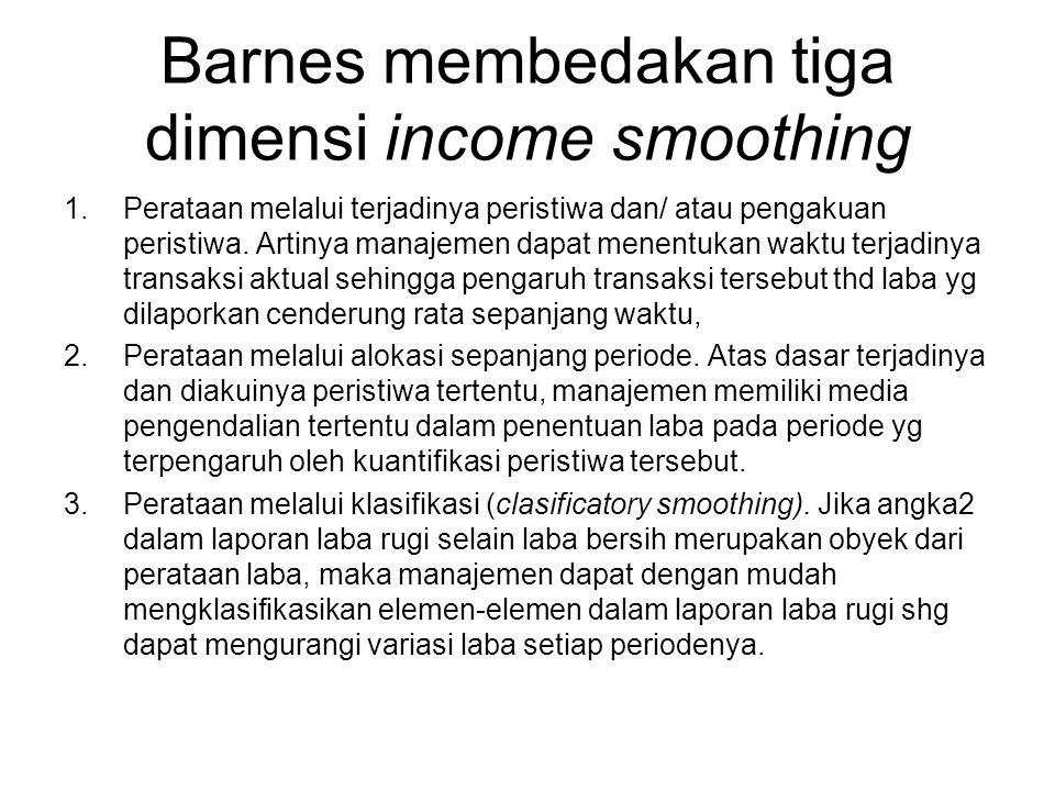 Barnes membedakan tiga dimensi income smoothing
