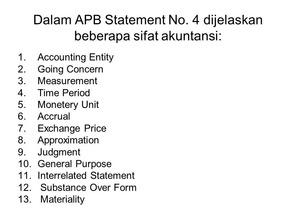 Dalam APB Statement No. 4 dijelaskan beberapa sifat akuntansi: