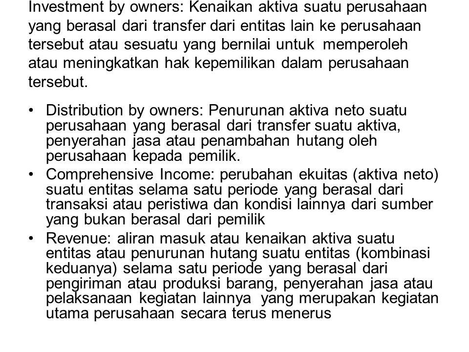 Investment by owners: Kenaikan aktiva suatu perusahaan yang berasal dari transfer dari entitas lain ke perusahaan tersebut atau sesuatu yang bernilai untuk memperoleh atau meningkatkan hak kepemilikan dalam perusahaan tersebut.