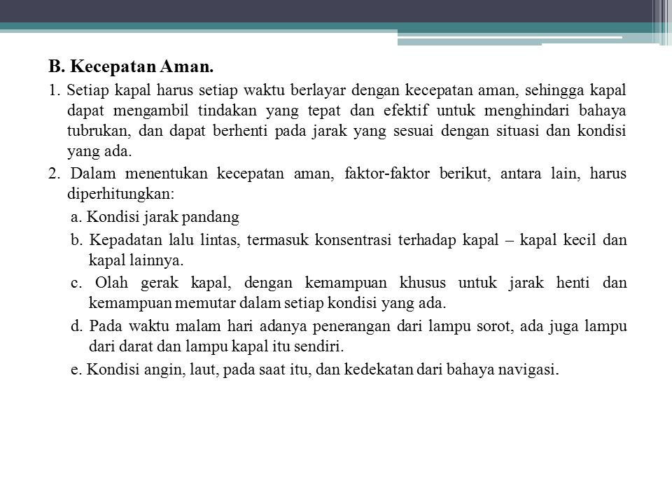 B. Kecepatan Aman.