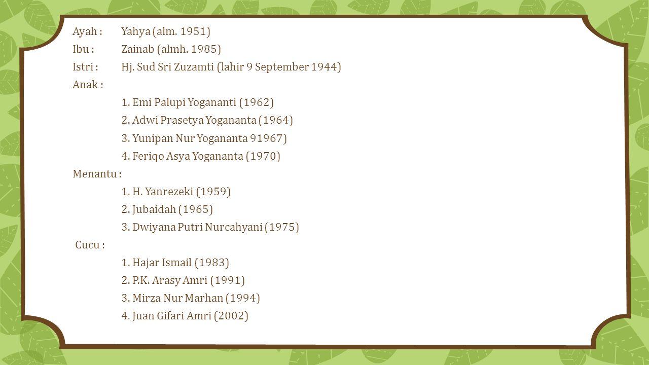 Ayah : Yahya (alm. 1951) Ibu : Zainab (almh. 1985) Istri : Hj. Sud Sri Zuzamti (lahir 9 September 1944)