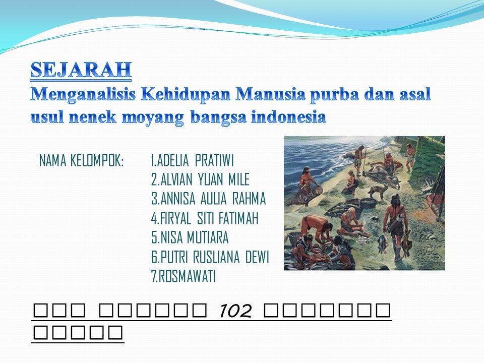 SEJARAH Menganalisis Kehidupan Manusia purba dan asal usul nenek moyang bangsa indonesia