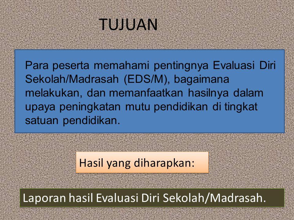 TUJUAN Laporan hasil Evaluasi Diri Sekolah/Madrasah.