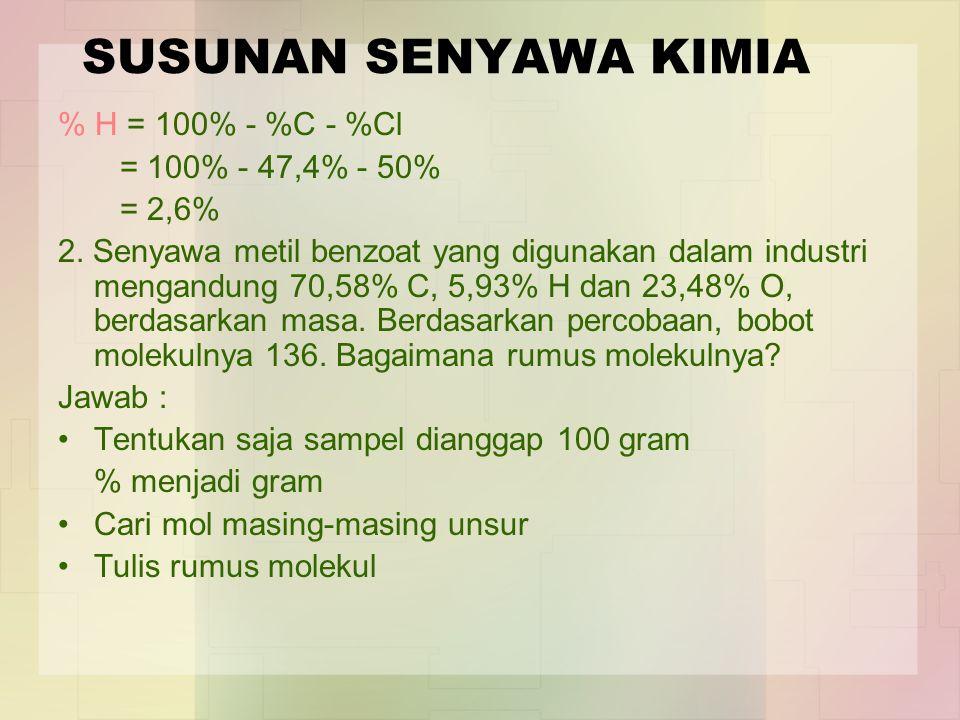 SUSUNAN SENYAWA KIMIA % H = 100% - %C - %Cl = 100% - 47,4% - 50%