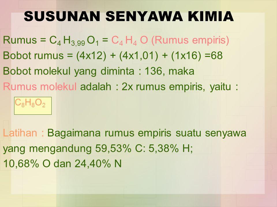 SUSUNAN SENYAWA KIMIA Rumus = C4 H3,99 O1 = C4 H4 O (Rumus empiris)