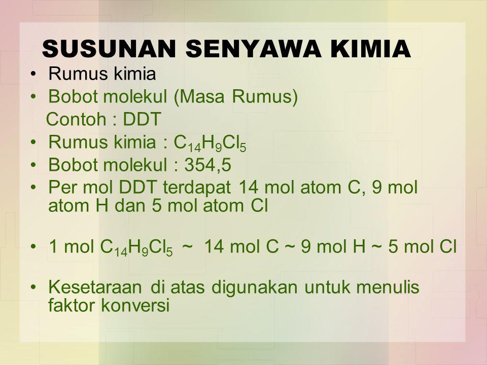 SUSUNAN SENYAWA KIMIA Rumus kimia Bobot molekul (Masa Rumus)
