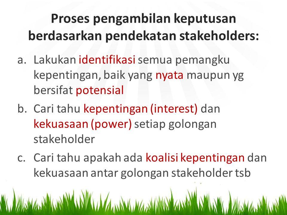 Proses pengambilan keputusan berdasarkan pendekatan stakeholders:
