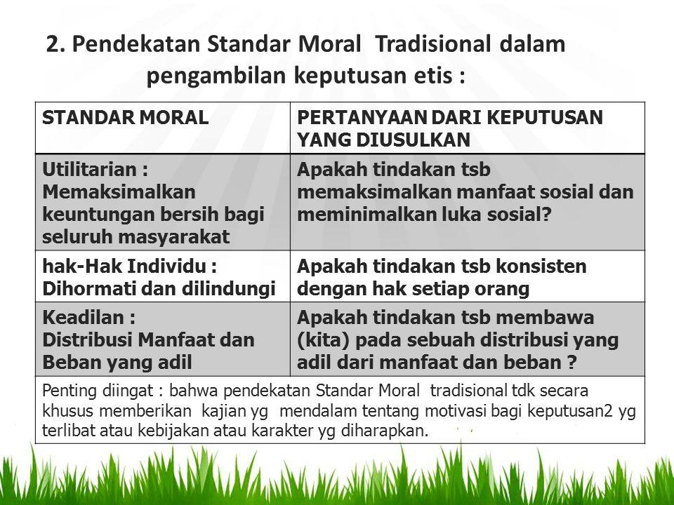 2. Pendekatan Standar Moral Tradisional dalam pengambilan keputusan etis :