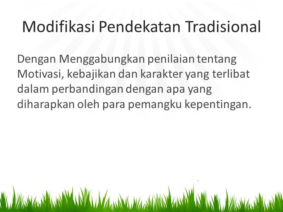 Modifikasi Pendekatan Tradisional