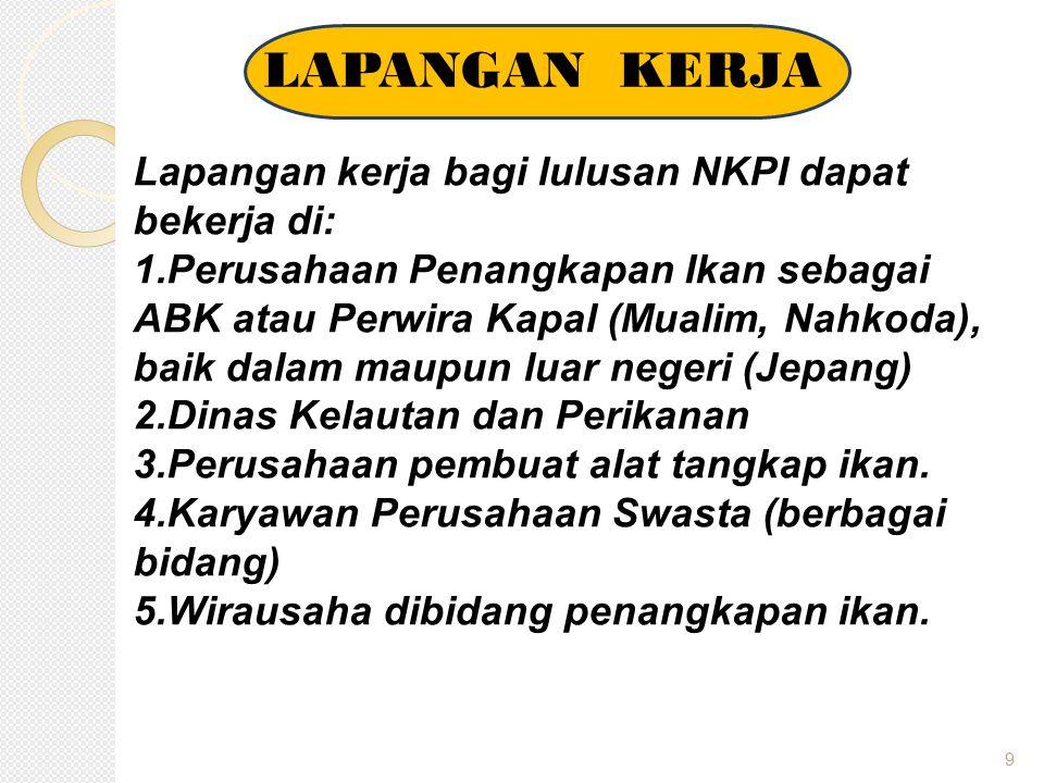 LAPANGAN KERJA Lapangan kerja bagi lulusan NKPI dapat bekerja di: