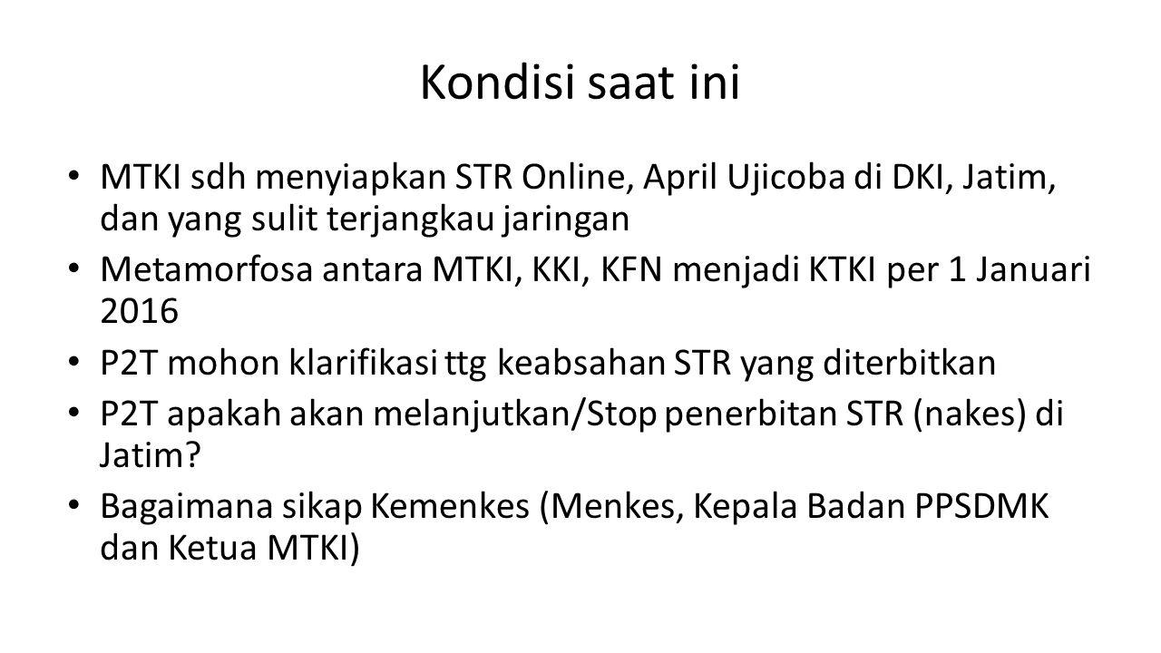 Kondisi saat ini MTKI sdh menyiapkan STR Online, April Ujicoba di DKI, Jatim, dan yang sulit terjangkau jaringan.