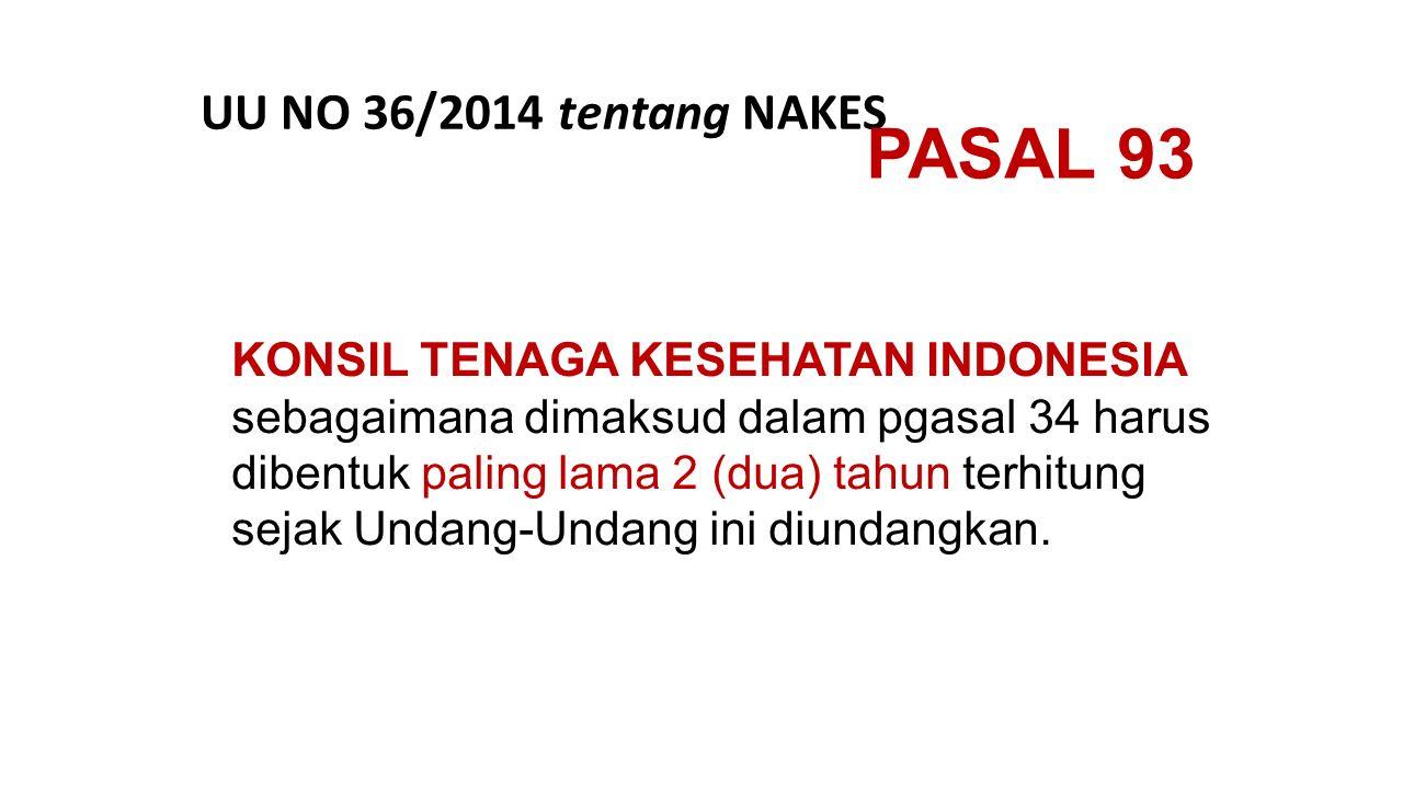 PASAL 93 UU NO 36/2014 tentang NAKES