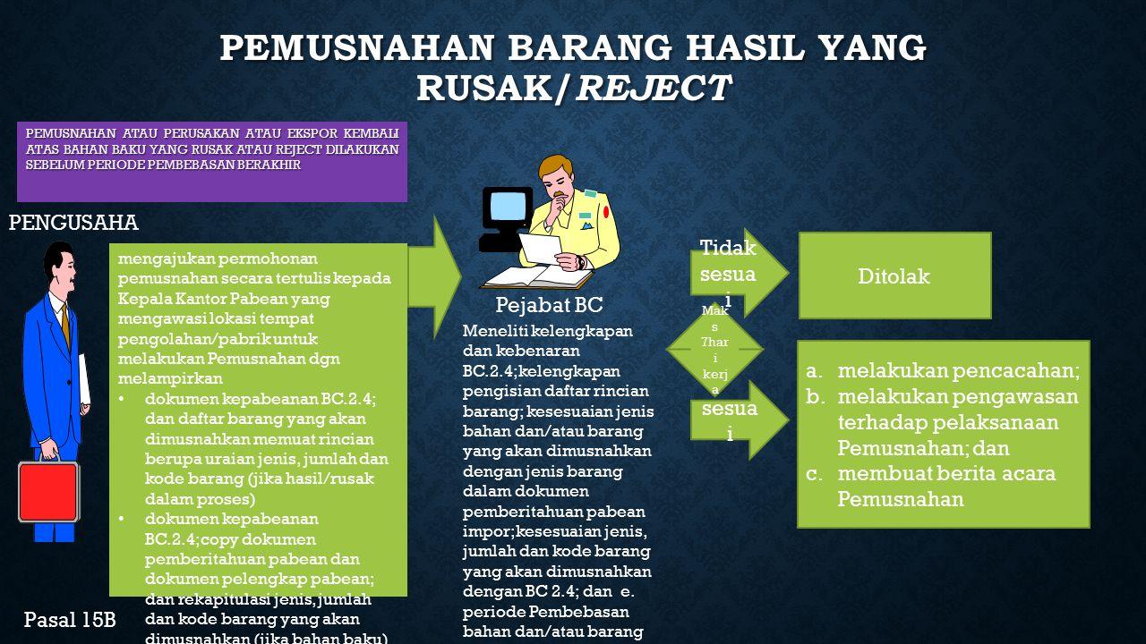 PEMUSNAHAN BARANG HASIL YANG RUSAK/REJECT