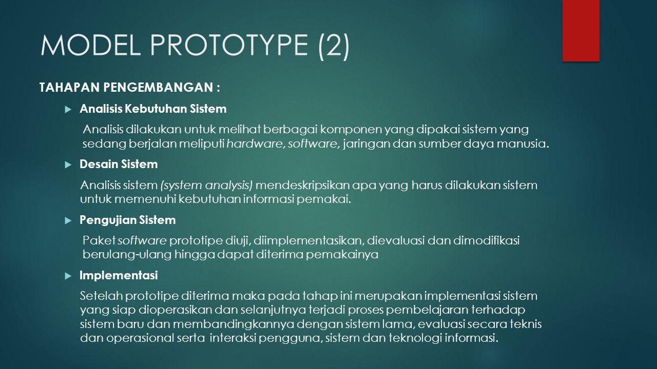 MODEL PROTOTYPE (2) TAHAPAN PENGEMBANGAN : Analisis Kebutuhan Sistem