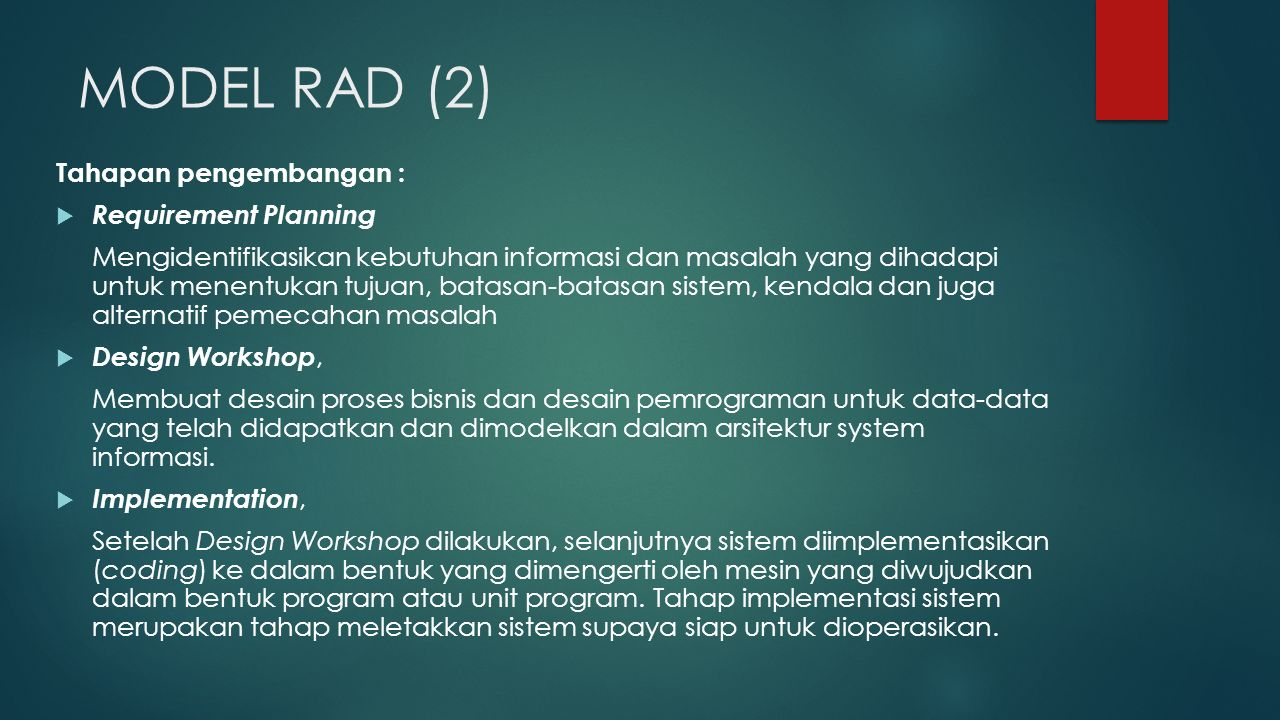 MODEL RAD (2) Tahapan pengembangan : Requirement Planning